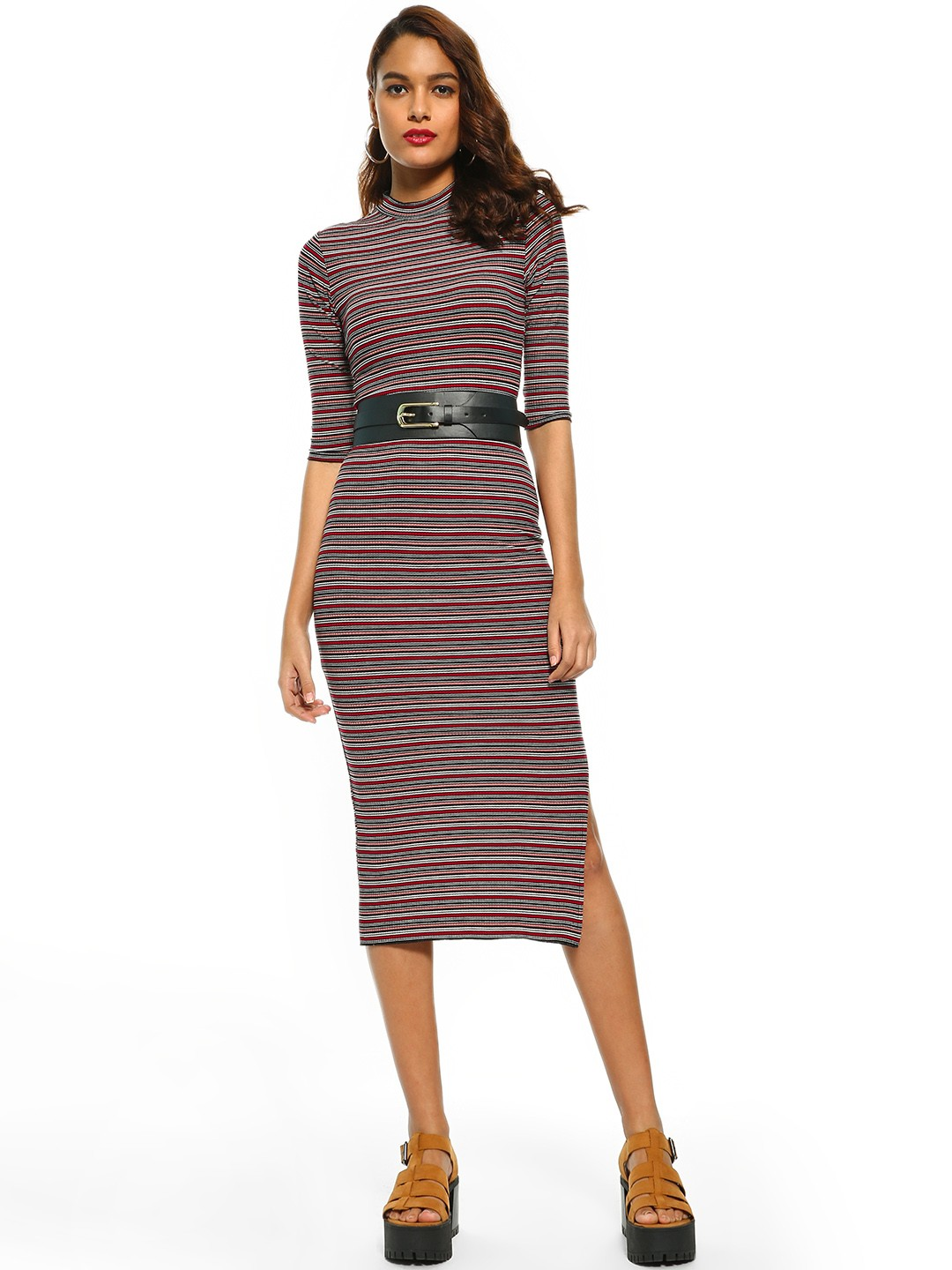 Cover Story Multi Horizontal Stripe Ribbed Bodycon Dress 1