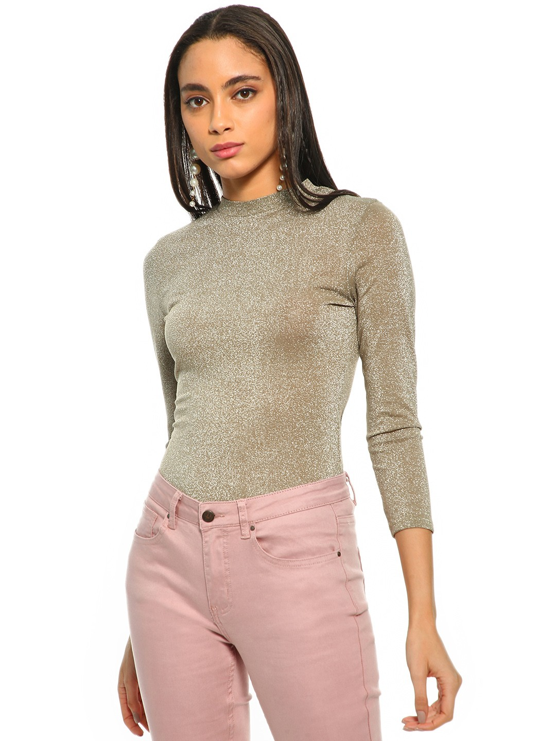 Cover Story Green Shimmer Long Sleeve Top 1