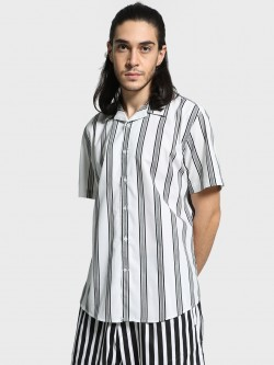 Mr Button Double Striped Cuban Collar Shirt