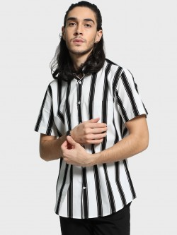 Mr Button Double Striped Short Sleeve Shirt