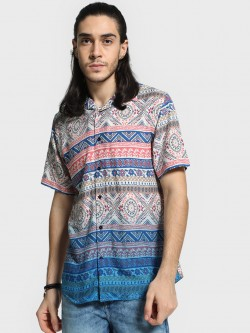 Mr Button Multi Tribal Print Cuban Collar Shirt