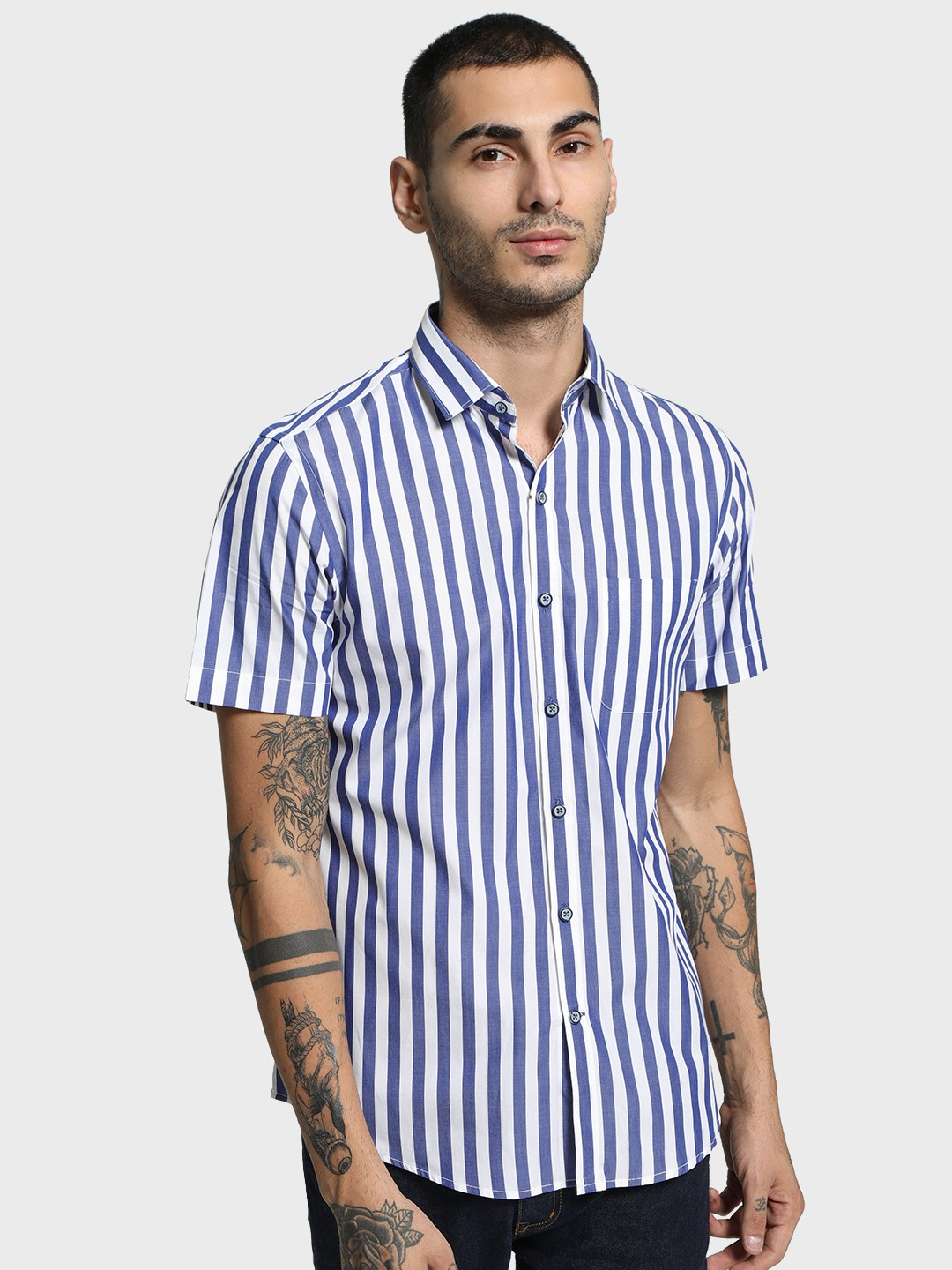 Mr Button Multi Vertical Stripe Short Sleeve Shirt 1