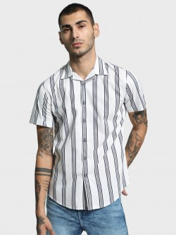 Mr Button Multi Stripe Cuban Collar Shirt