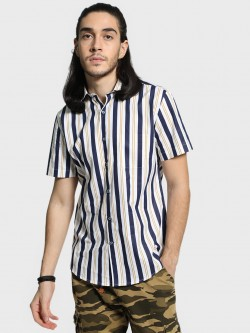 Mr Button Broad Stripe Short Sleeve Shirt