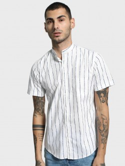 Mr Button Multi Broken Stripe Band Collar Shirt