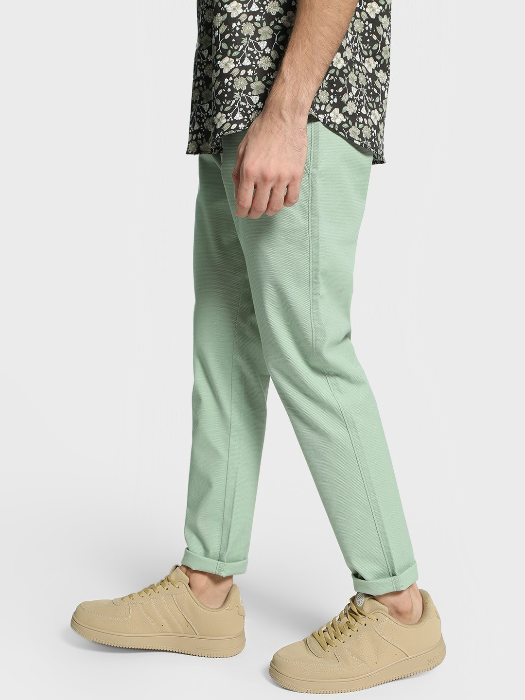 Mr Button Green Dobby Textured Slim Trousers 1