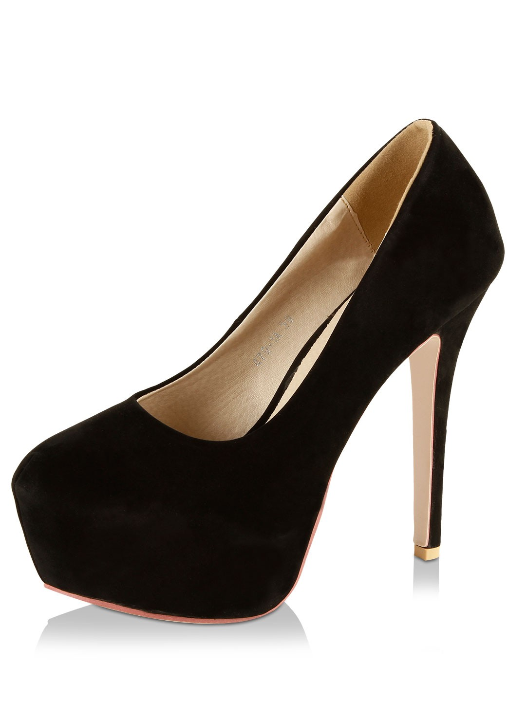9 To Five Black Pumps In Suede Finish 1