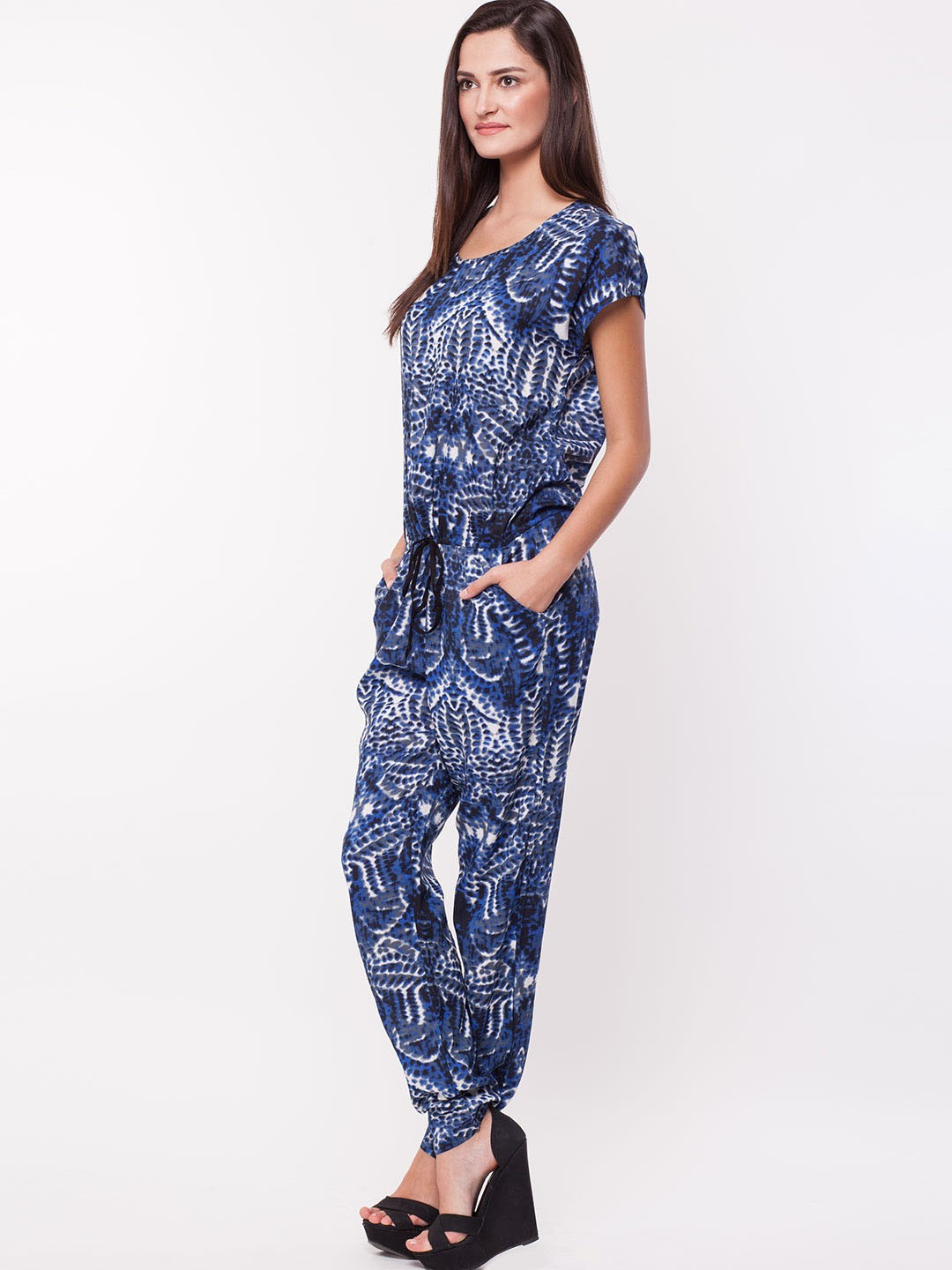 Buy Printed Loose Fit Jumpsuit For Women - Womenu0026#39;s Blue Jumpsuits Online In India