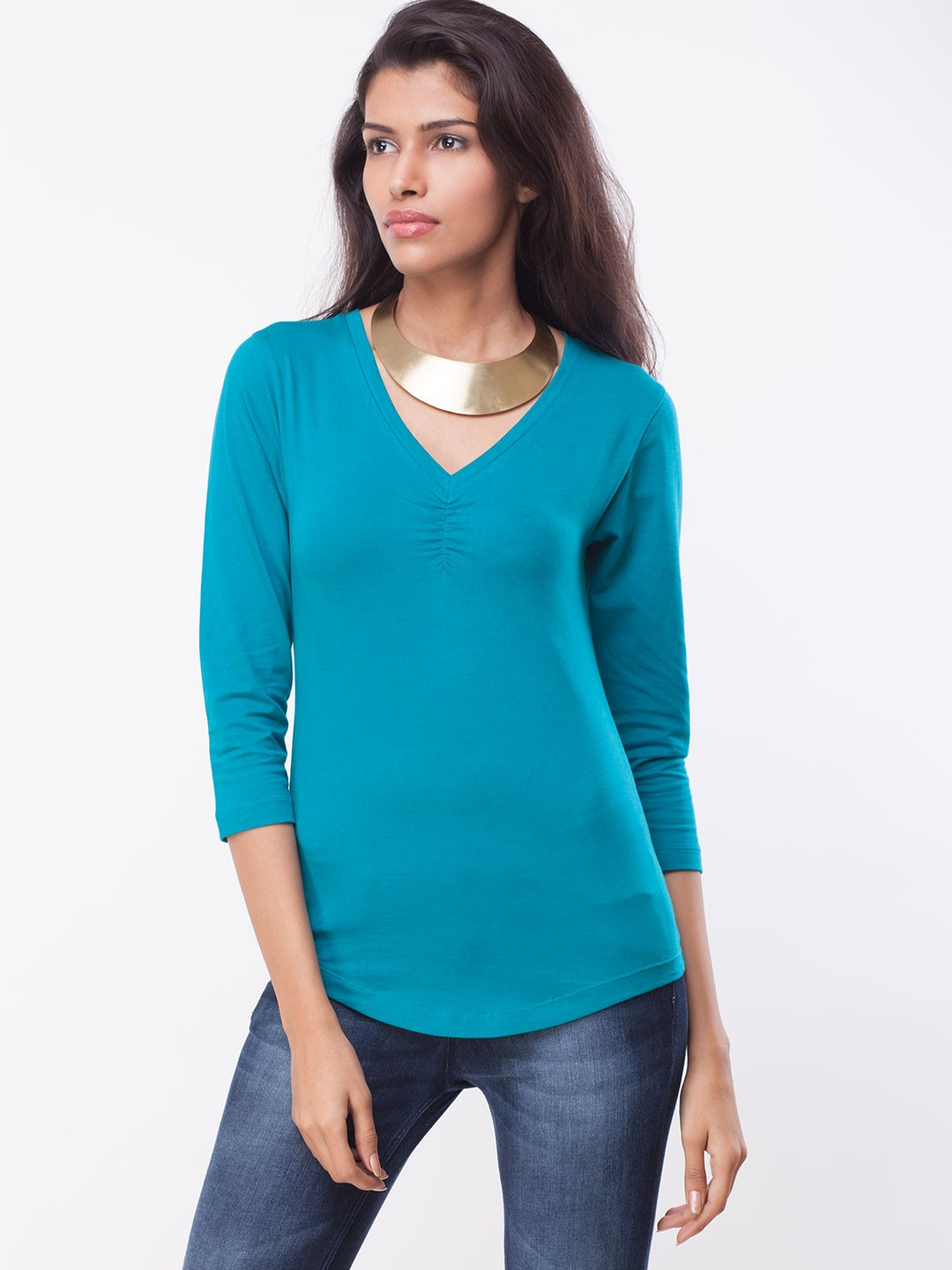 KOOVS Gathered Front 3/4th Sleeve Top