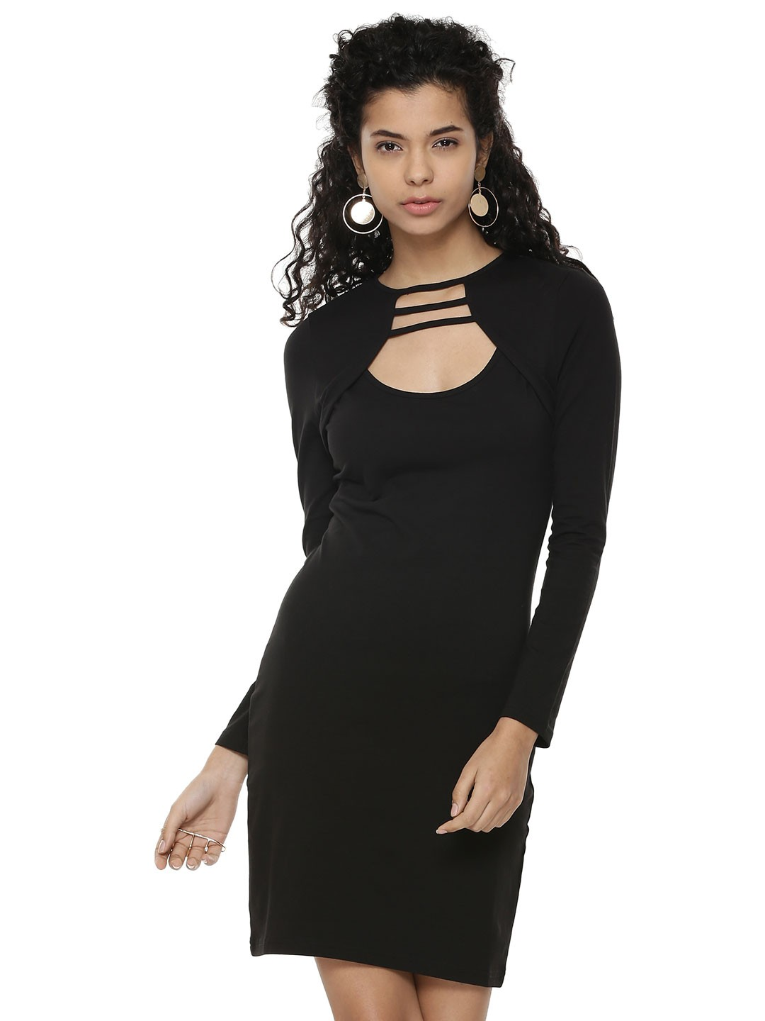 KOOVS Black Catch Front Long Bodycon Dress 1
