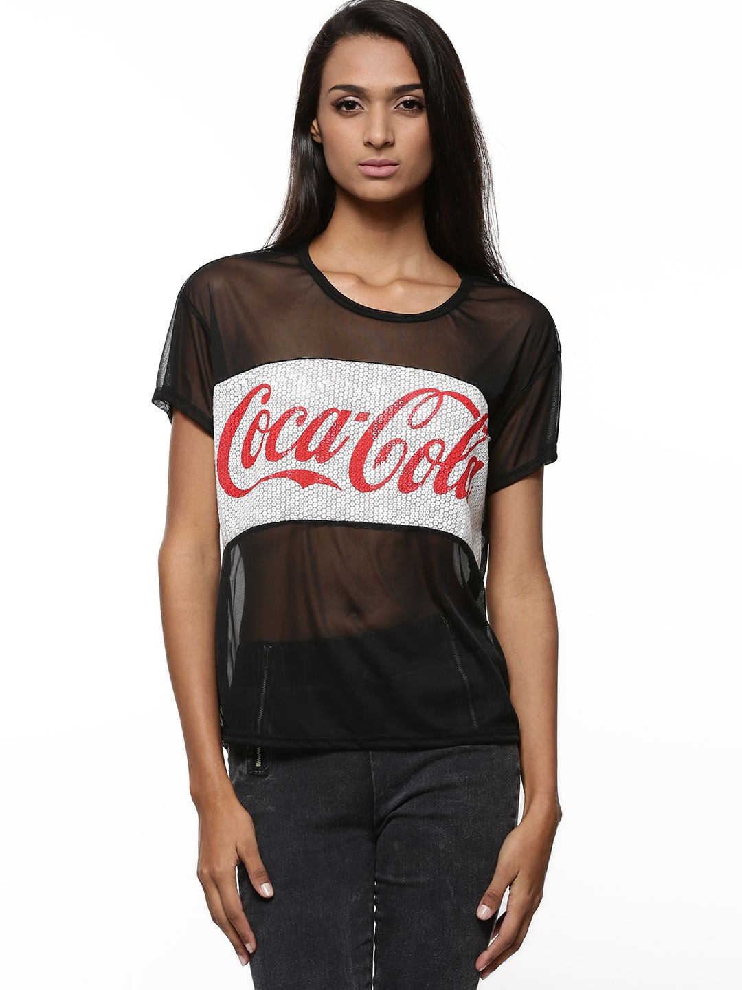 Buy Coca Cola Sequins Logo With Mesh Detail Top For Women ...