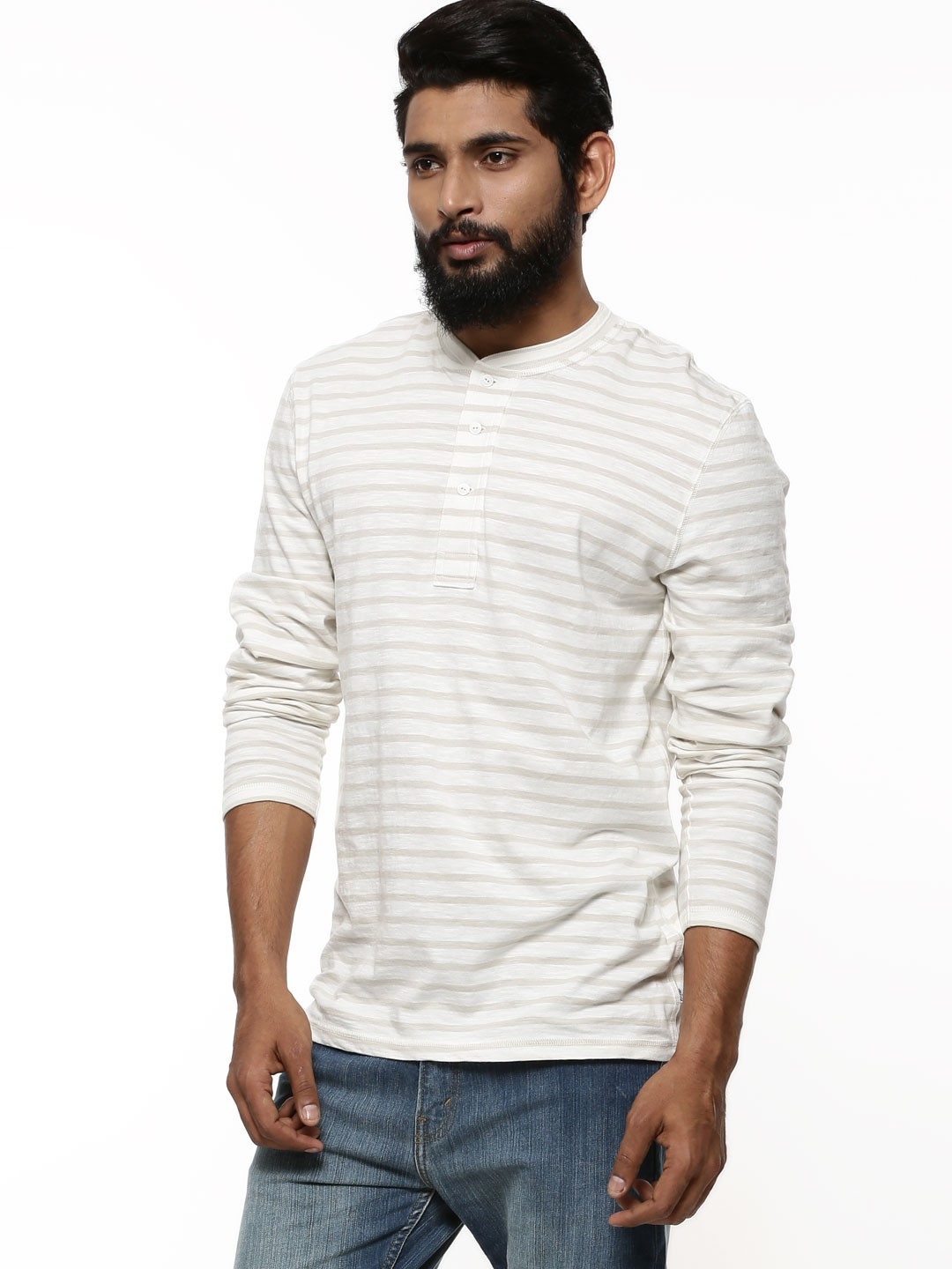 Buy henley collar striped t shirt for men men 39 s for Mens collared henley shirt
