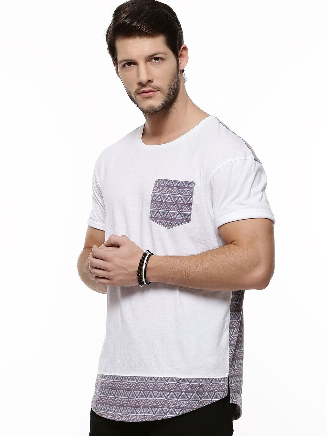 Buy longline hem printed t shirt for men men 39 s white t for Who makes the best white t shirts