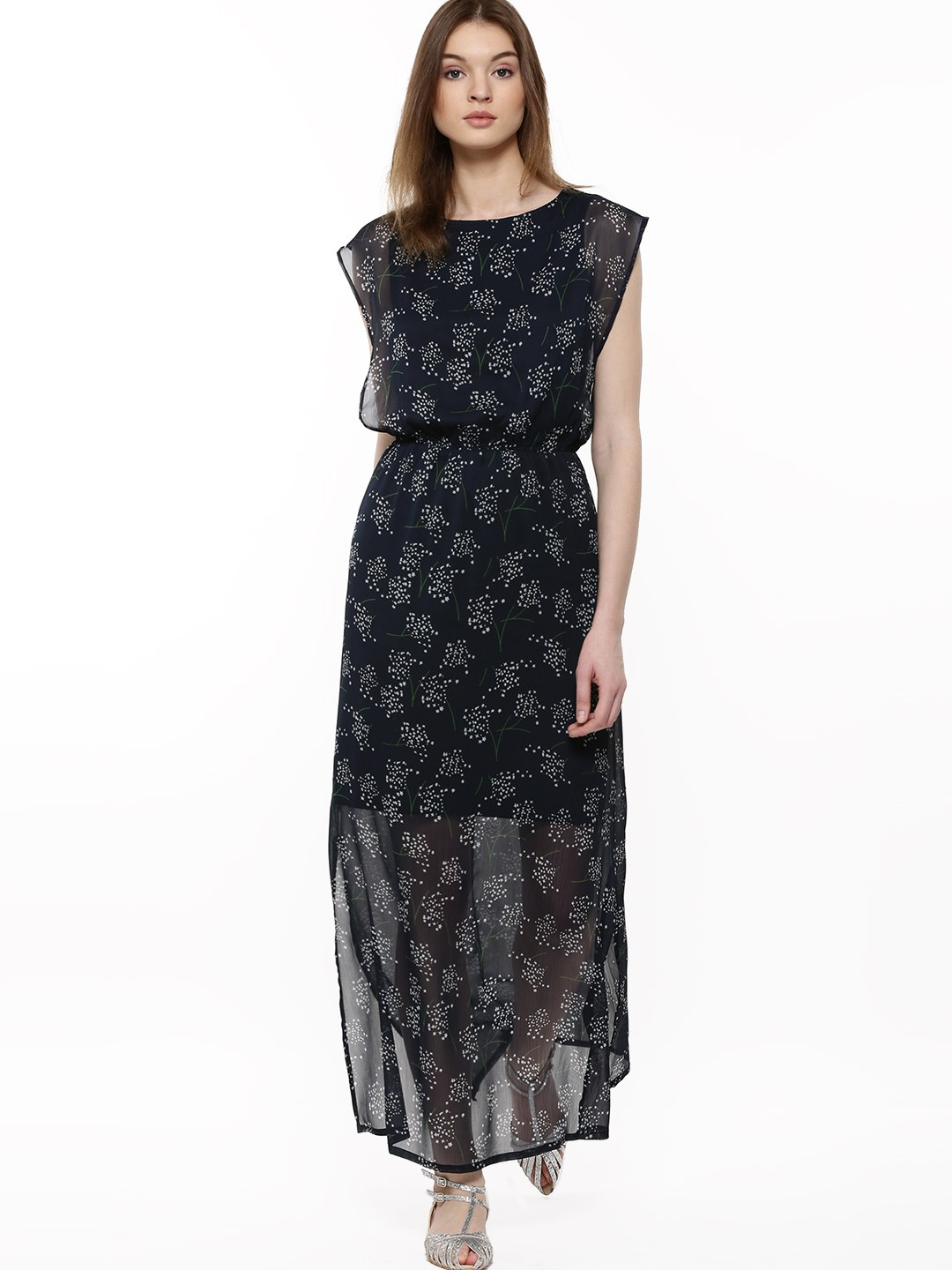 Buy Femella Front Ruffle Top For Women: Buy Femella Navy And White Printed Maxi Dress For Girls