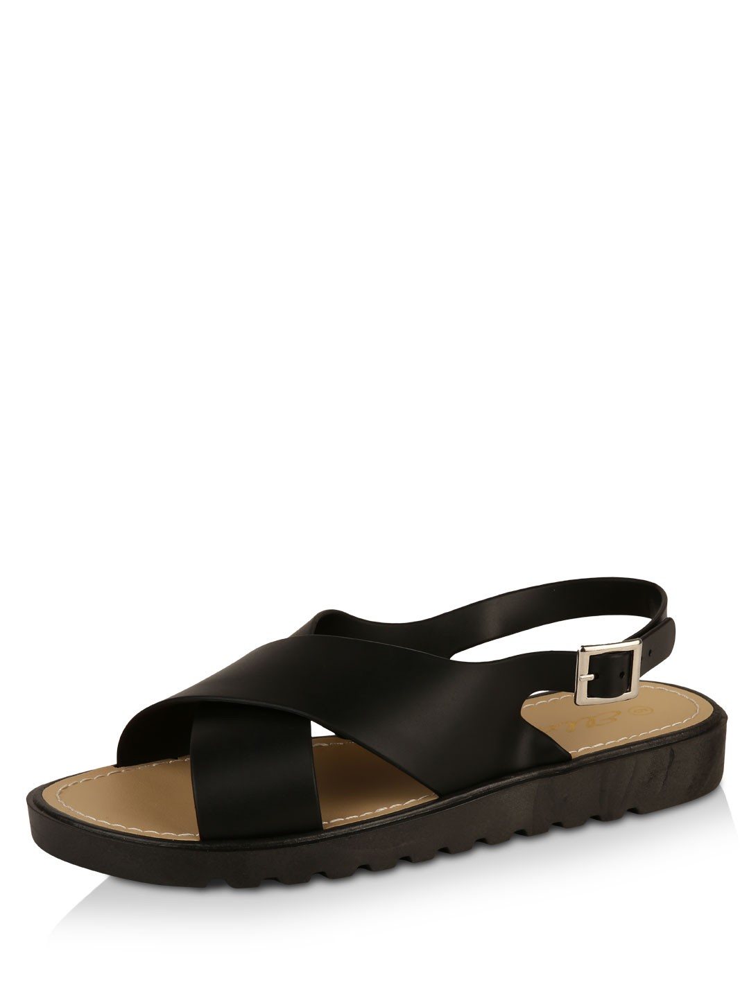 Ella Shoes Black Buckle Detail Sandals 1