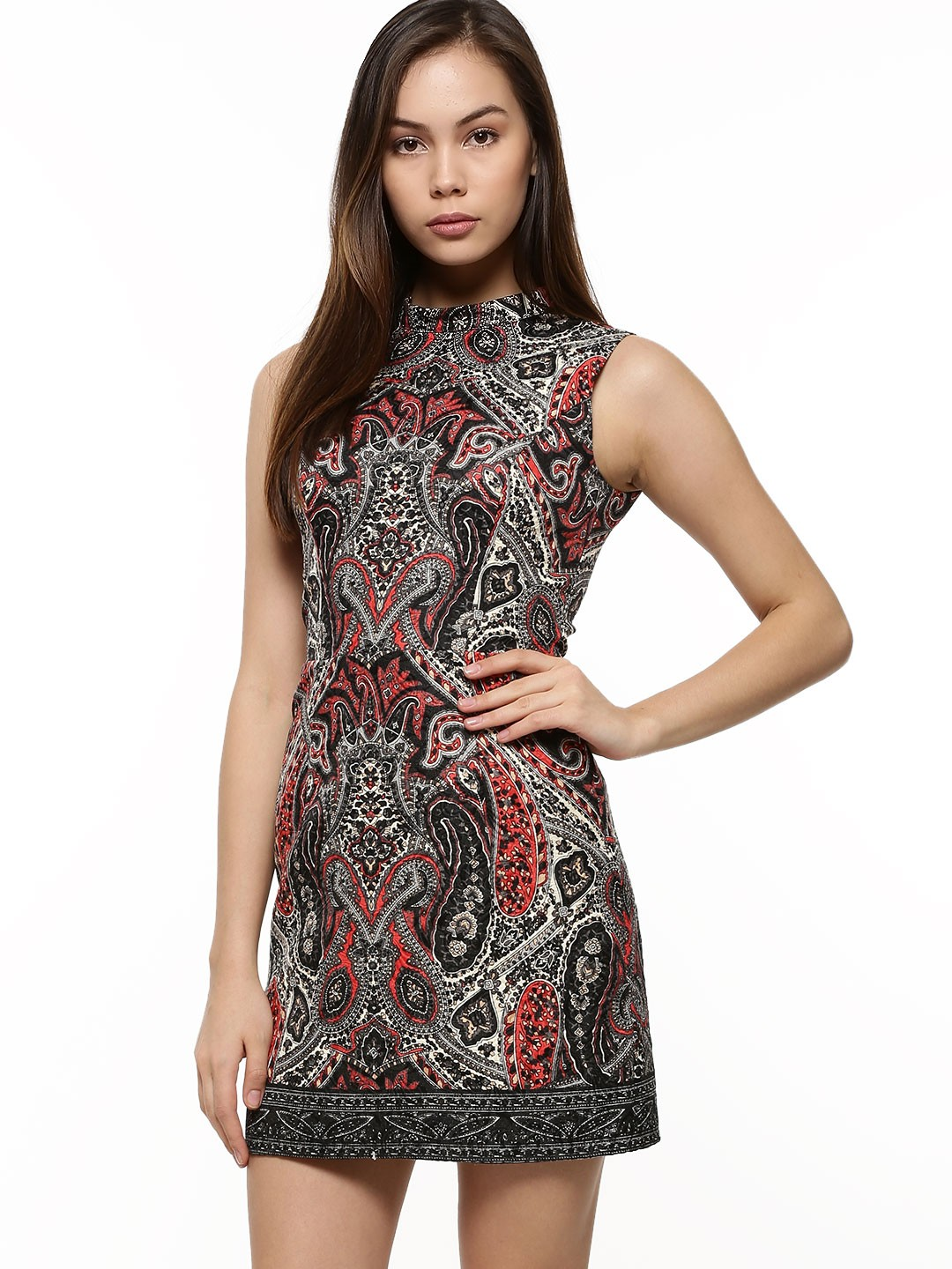 Paisley Print High Neck Dress For Women S Multi Tunic Dresses Online In India