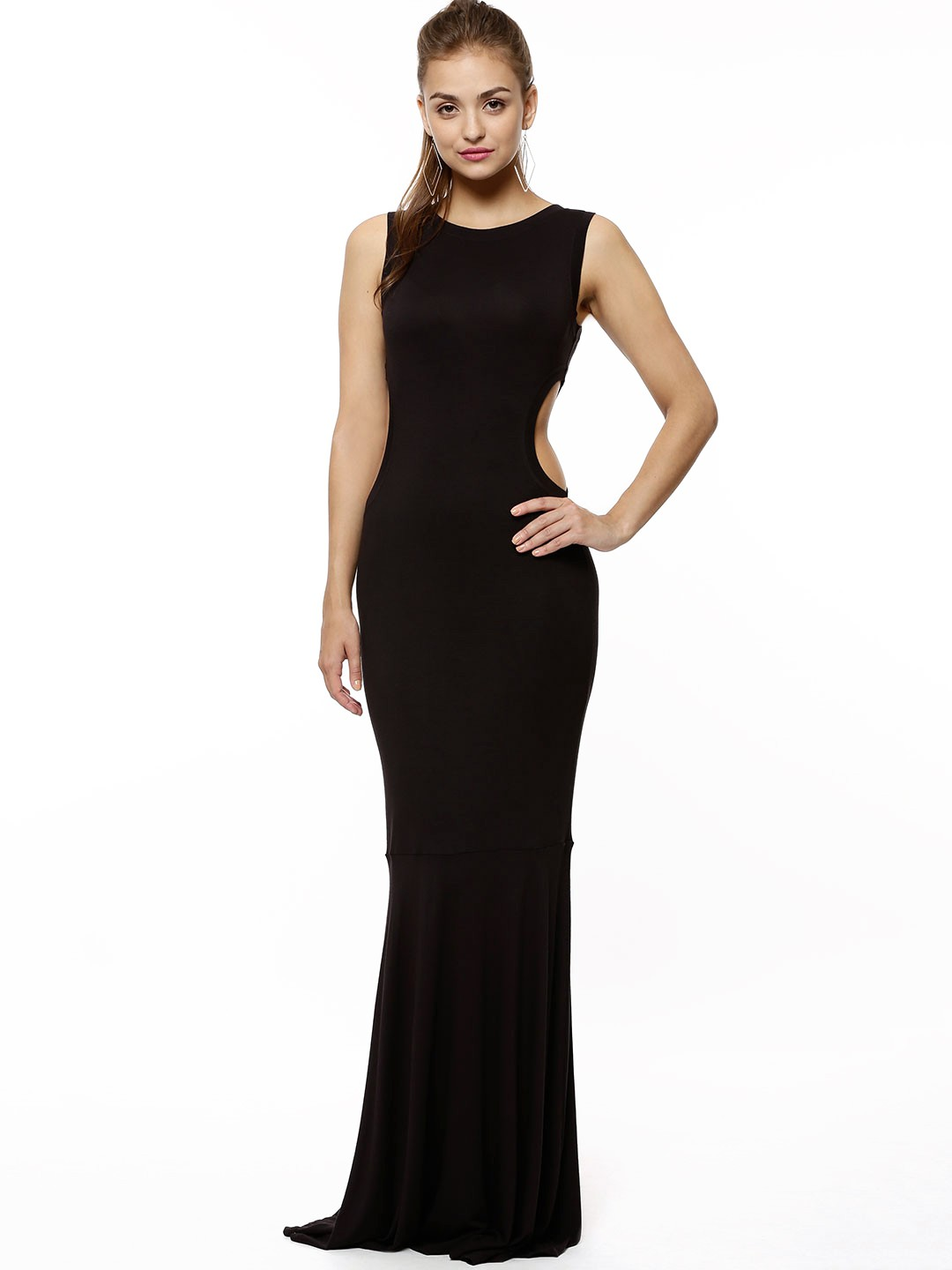 Buy Koovs Black Side Cut Out Fish Tail Maxi Dress For