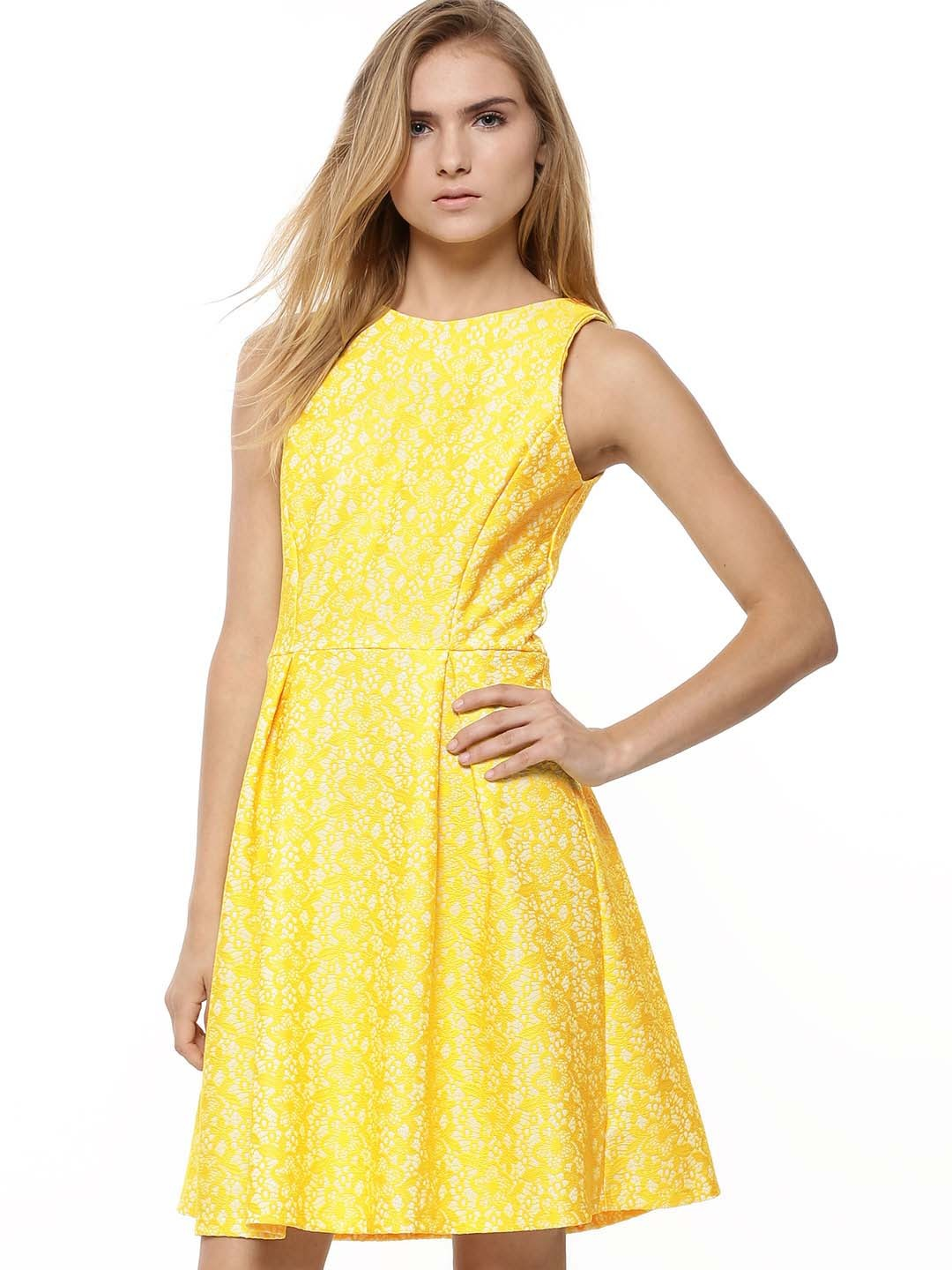 Buy Warehouse Yellow Bonded Lace Dress For Girls Online In India