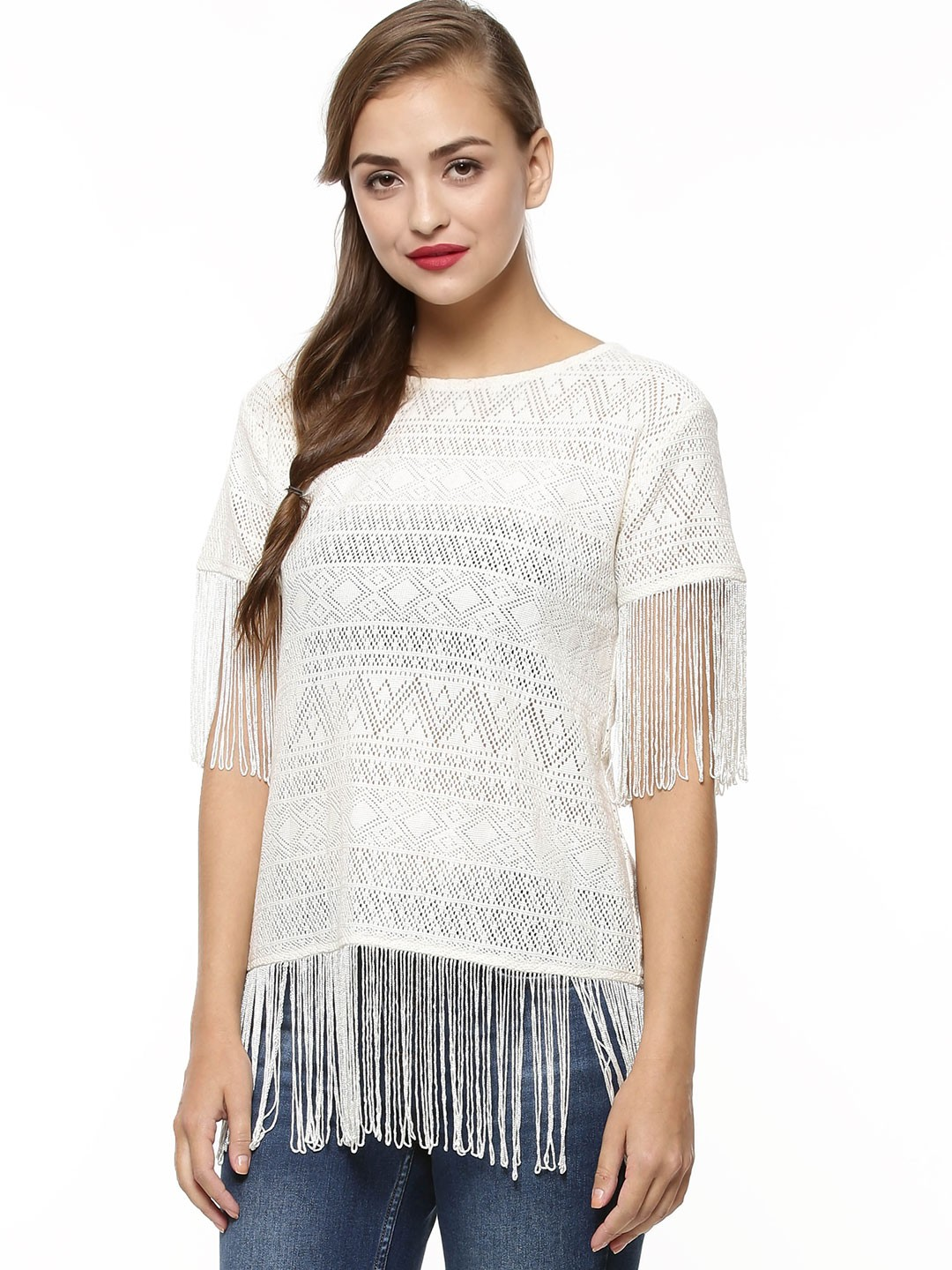 KOOVS Cream Lace Fringe Tie Side Top 1