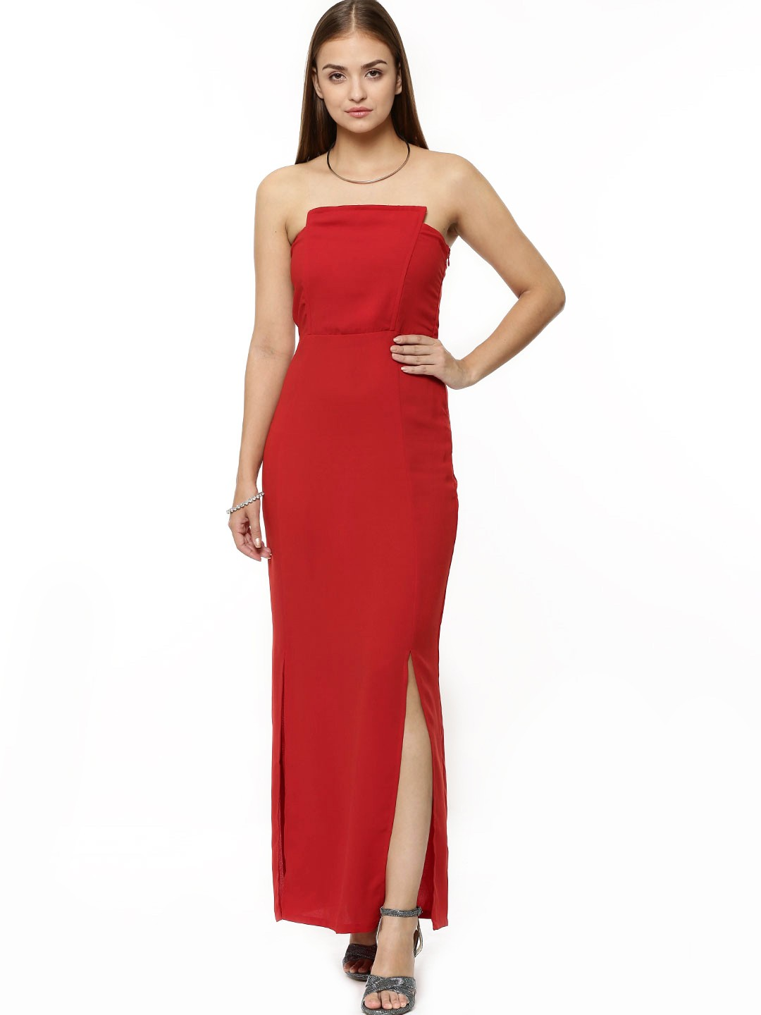 KOOVS Red Bandeau Column Maxi Dress In The Style Of Reese Witherspoon 1