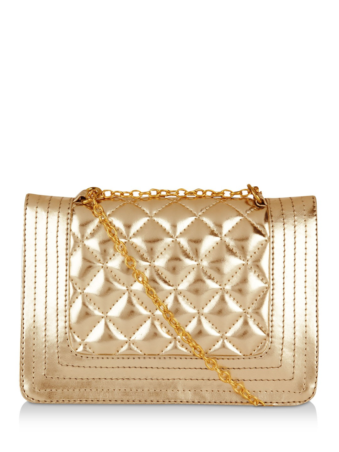 Paris Belle Dull Gold Quilted Sling Bags 1