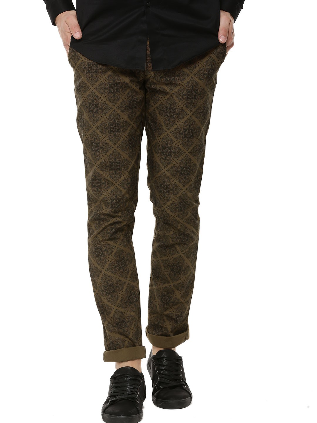 up-to-datestyling offer running shoes Buy KOOVS Khaki Printed Chinos for Men Online in India