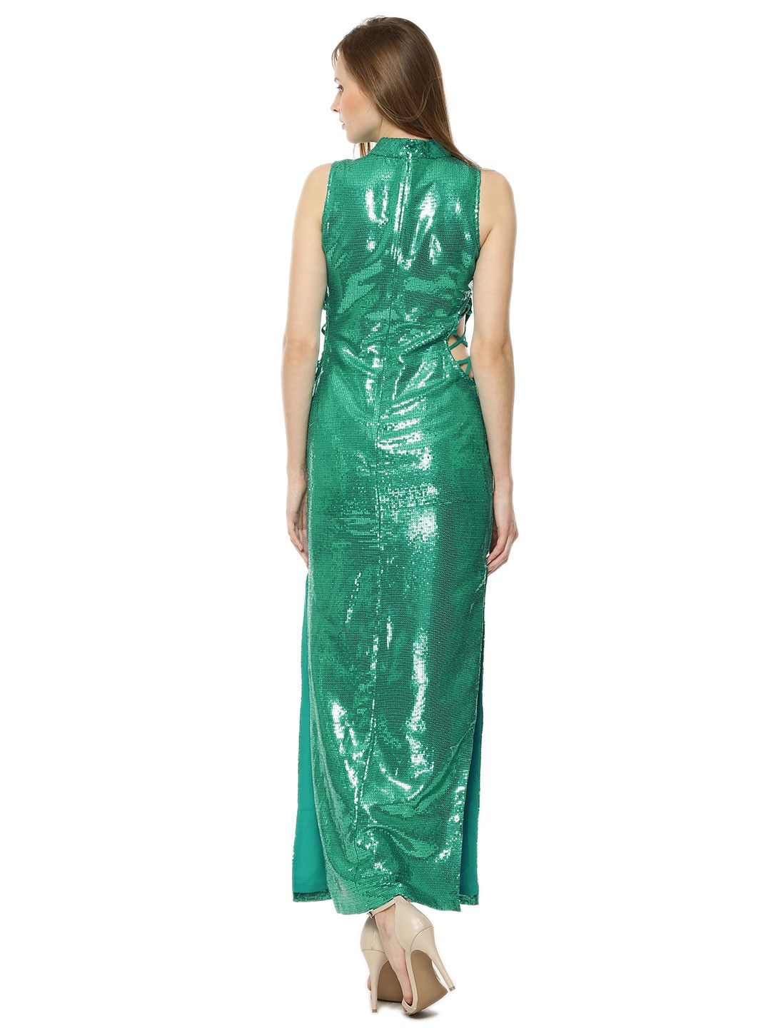 Buy High Neck Cut Out Sequin Maxi Dress In The Style Of ...