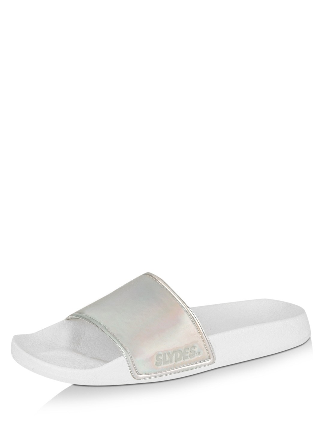 Buy Slydes IRRIDESCENT/WHITE Holographic Pool Sliders for Girls Online in India