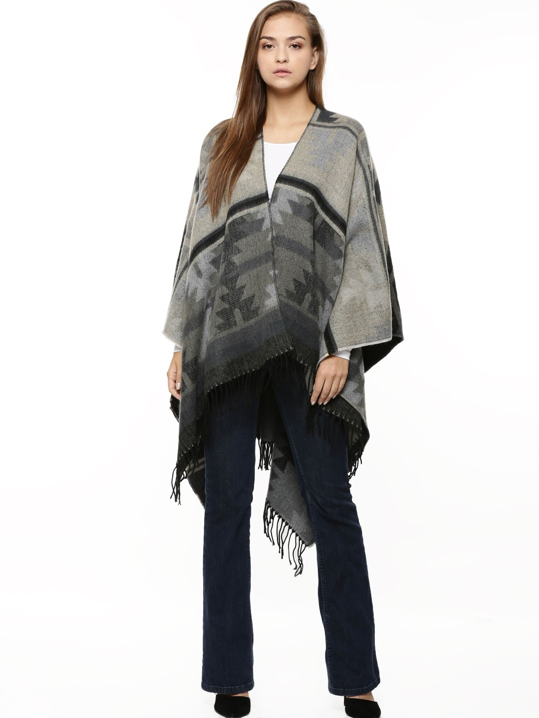 Vila Black Fringed Poncho 1
