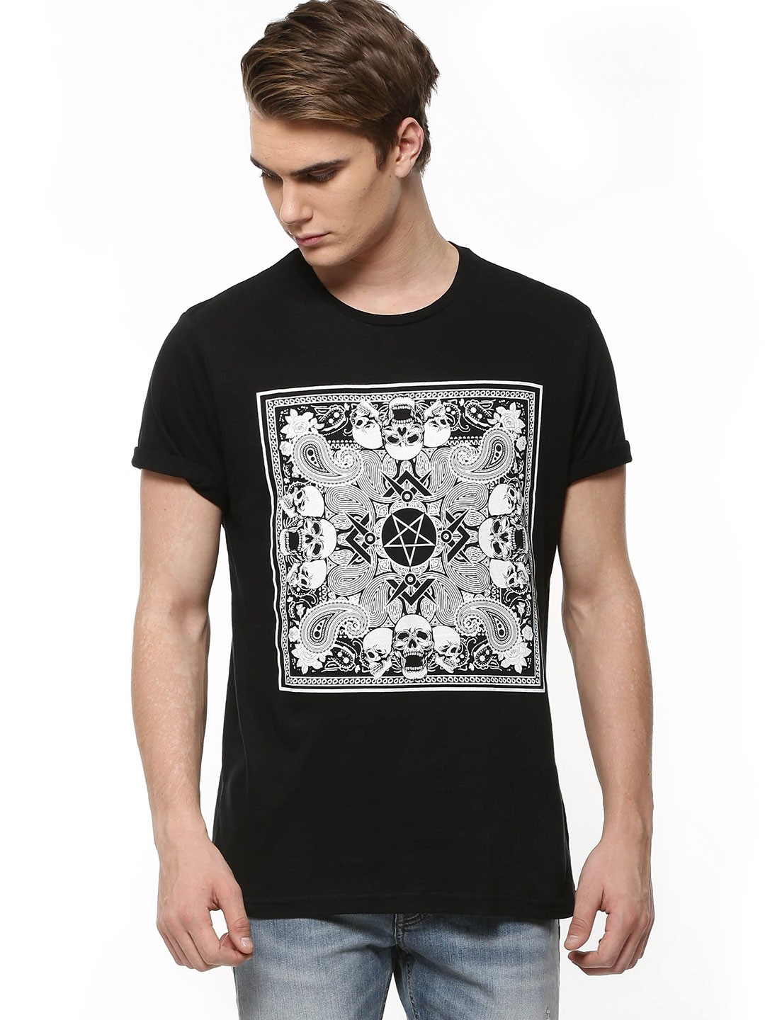 Brave Soul Black Gothic Print T Shirt For Men Online In