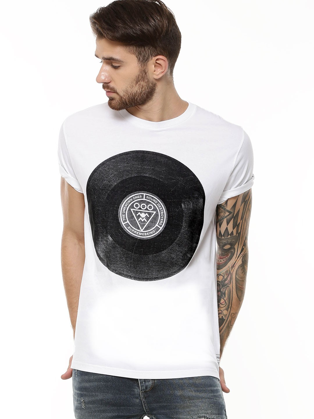 Buy Supremebeing White Vinyl Print T Shirt For Men Online