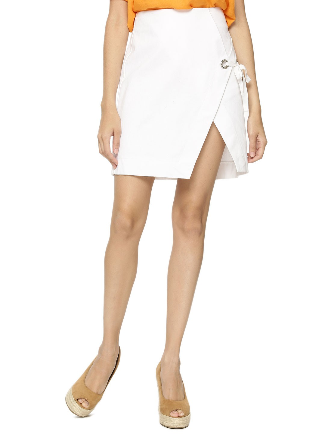 KOOVS White Eyelet Wrap Mini Skirt 1