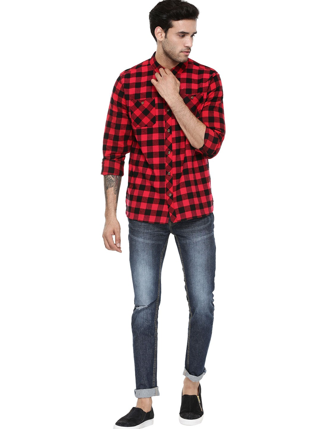 Buy buffalo check shirt for men men 39 s red casual shirts for Best shirts for men