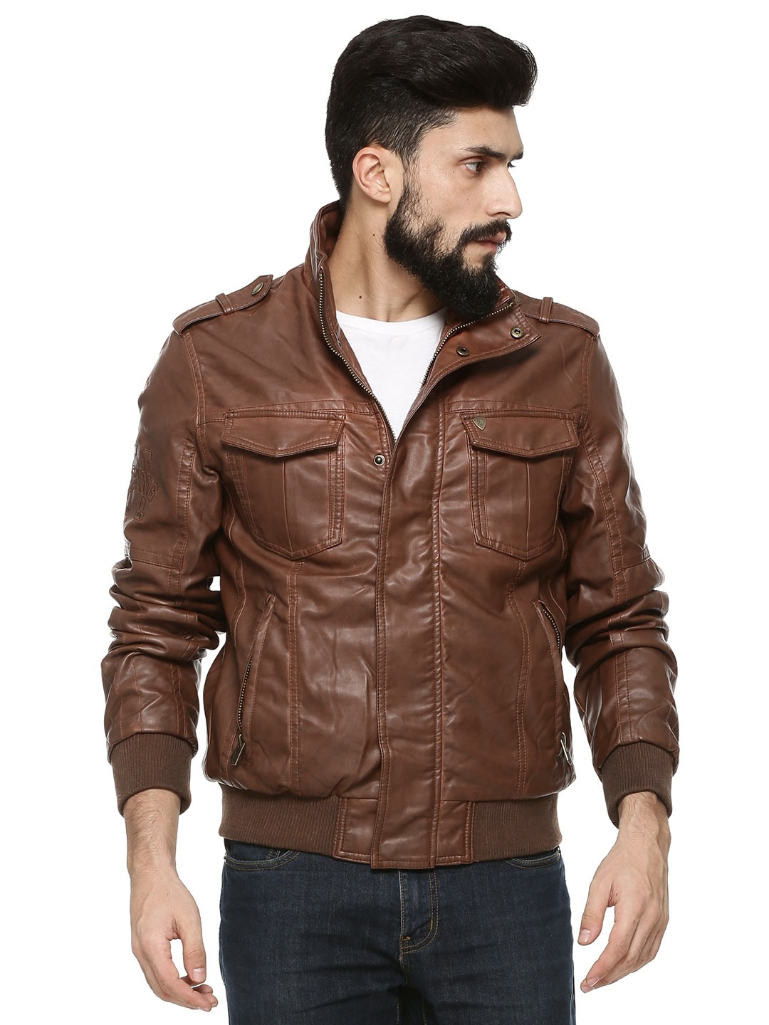 Buy Being Human Brown Faux Leather Jacket With Shoulder