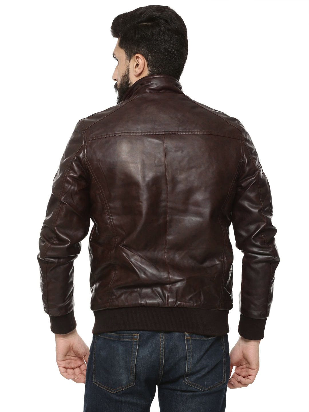 Buy Being Human Brick Red Biker Jacket With Ribbed Pockets ...