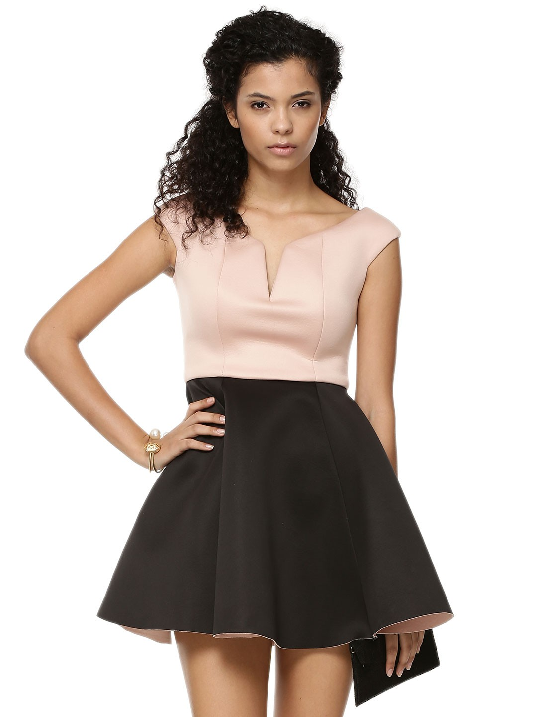 Rare Black/Pink Bardot Skater Dress 1