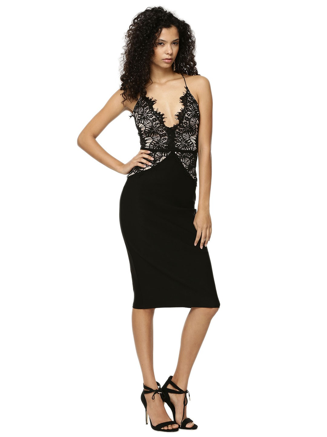 Rare Black LONDON Lace Strappy Midi Dress 1