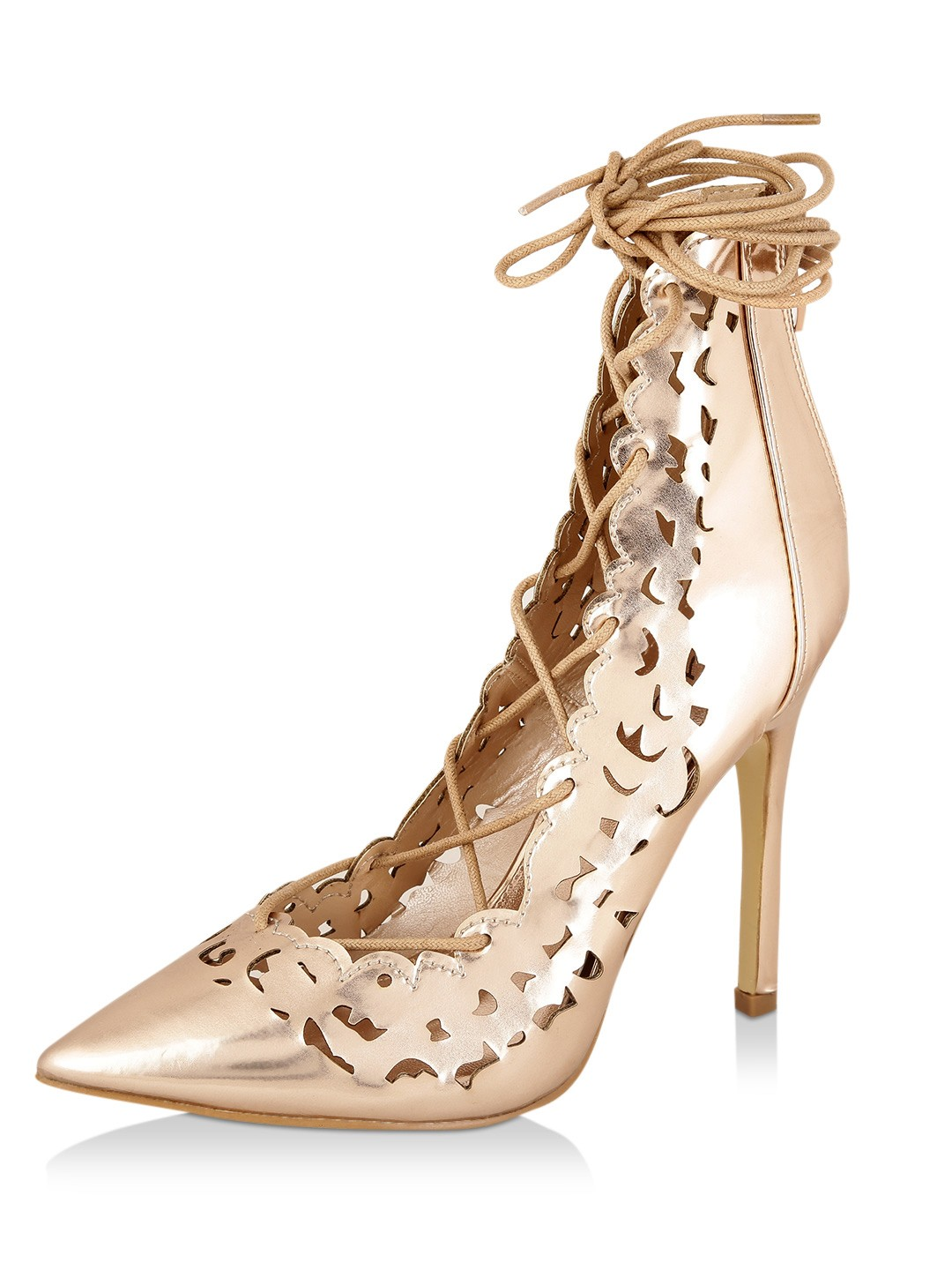 No Doubt ROSE GOLD CHROME Lace Up Heeled Sandals 1