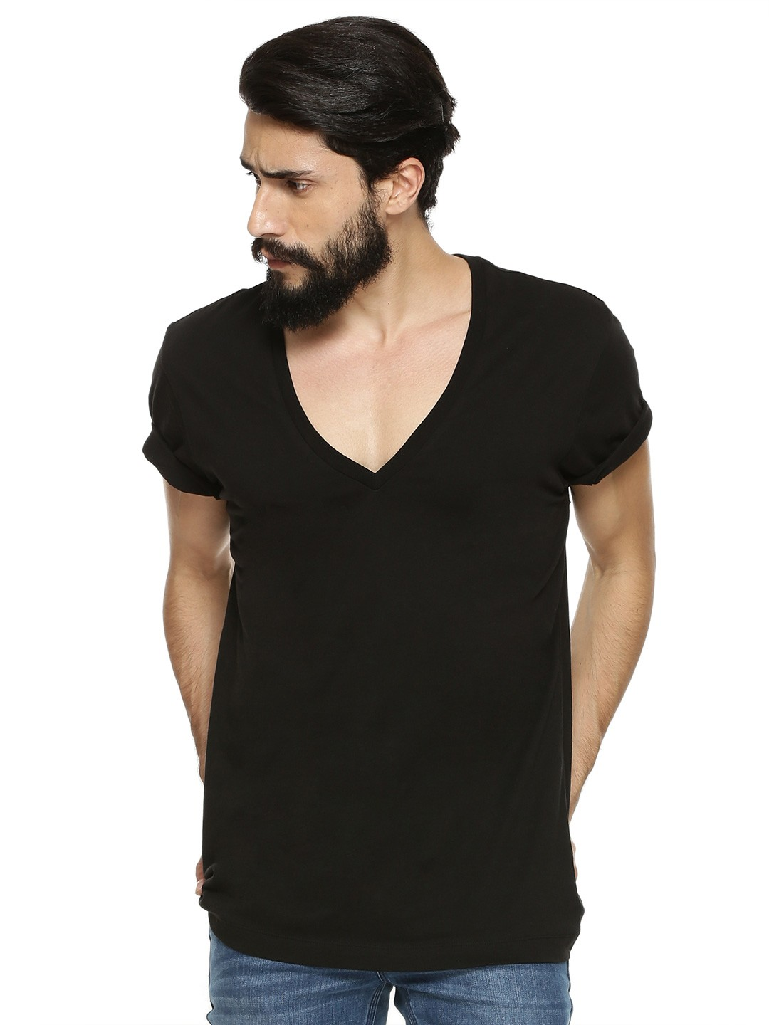 Buy Deep V Neck T Shirt For Men Men 39 S Black T Shirts