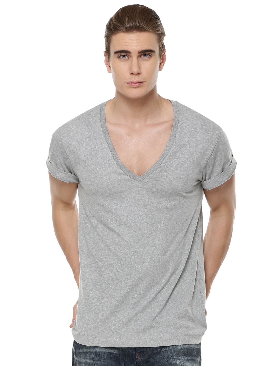Buy Deep V Neck T Shirt For Men Men 39 S Grey T Shirts