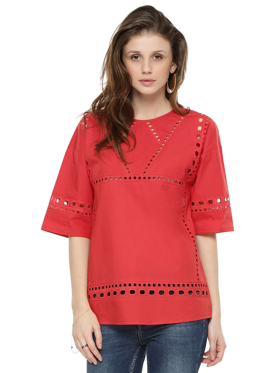 Rena Love Red Ladder Lace Insert Top 1