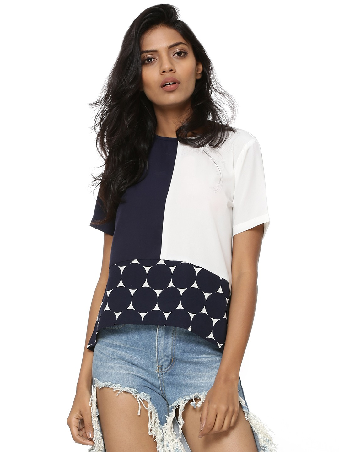 Prym Blue Mix Color Block Top 1