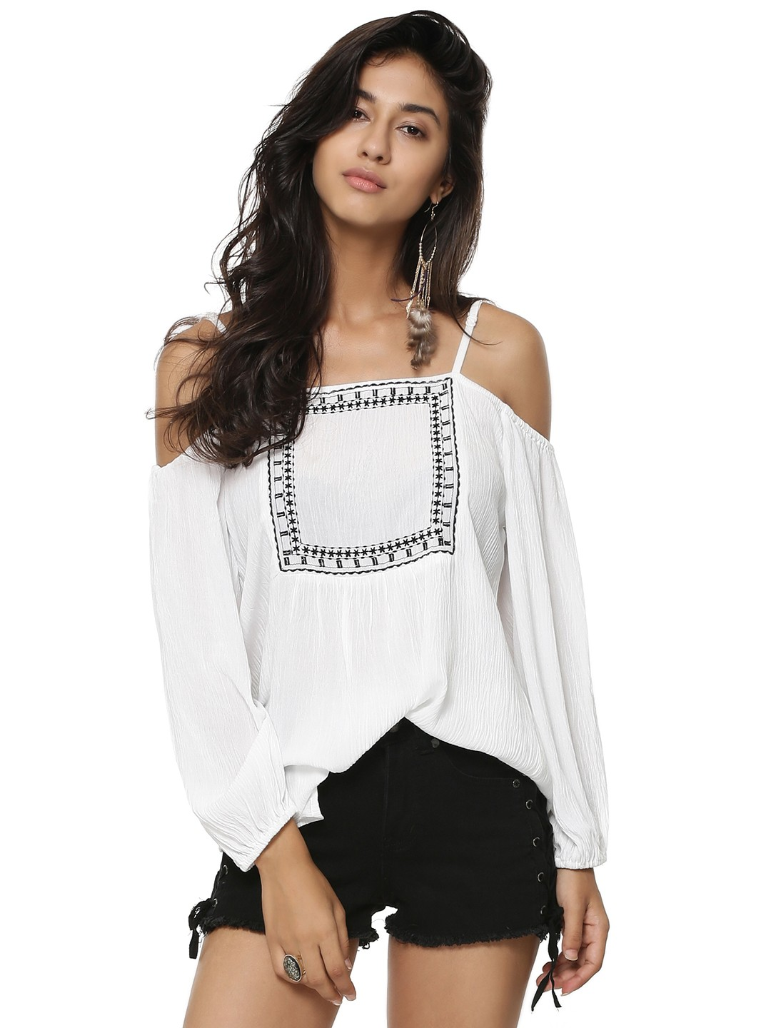 Buy Rena Love Floral Print Peplum Top For Women: Buy Rena Love White Square Embroidered Cold Shoulder Top