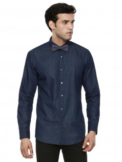 Adamo London Denim Shirt With Printed Bow