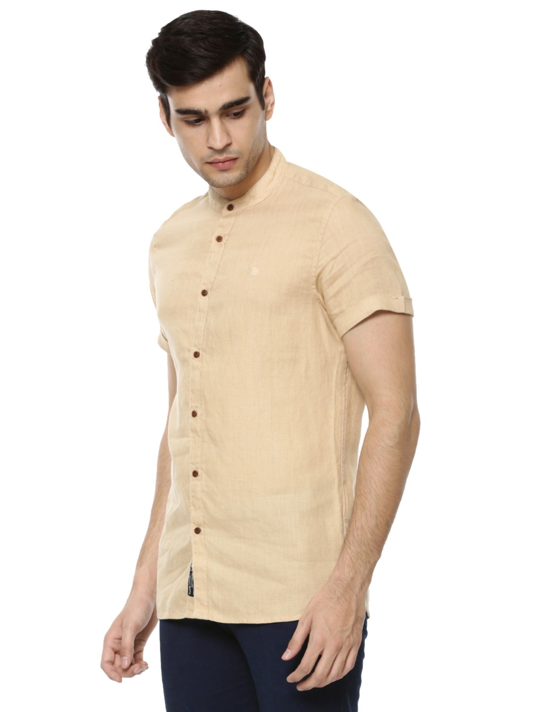 buy mandarin collar linen shirt for men men 39 s beige