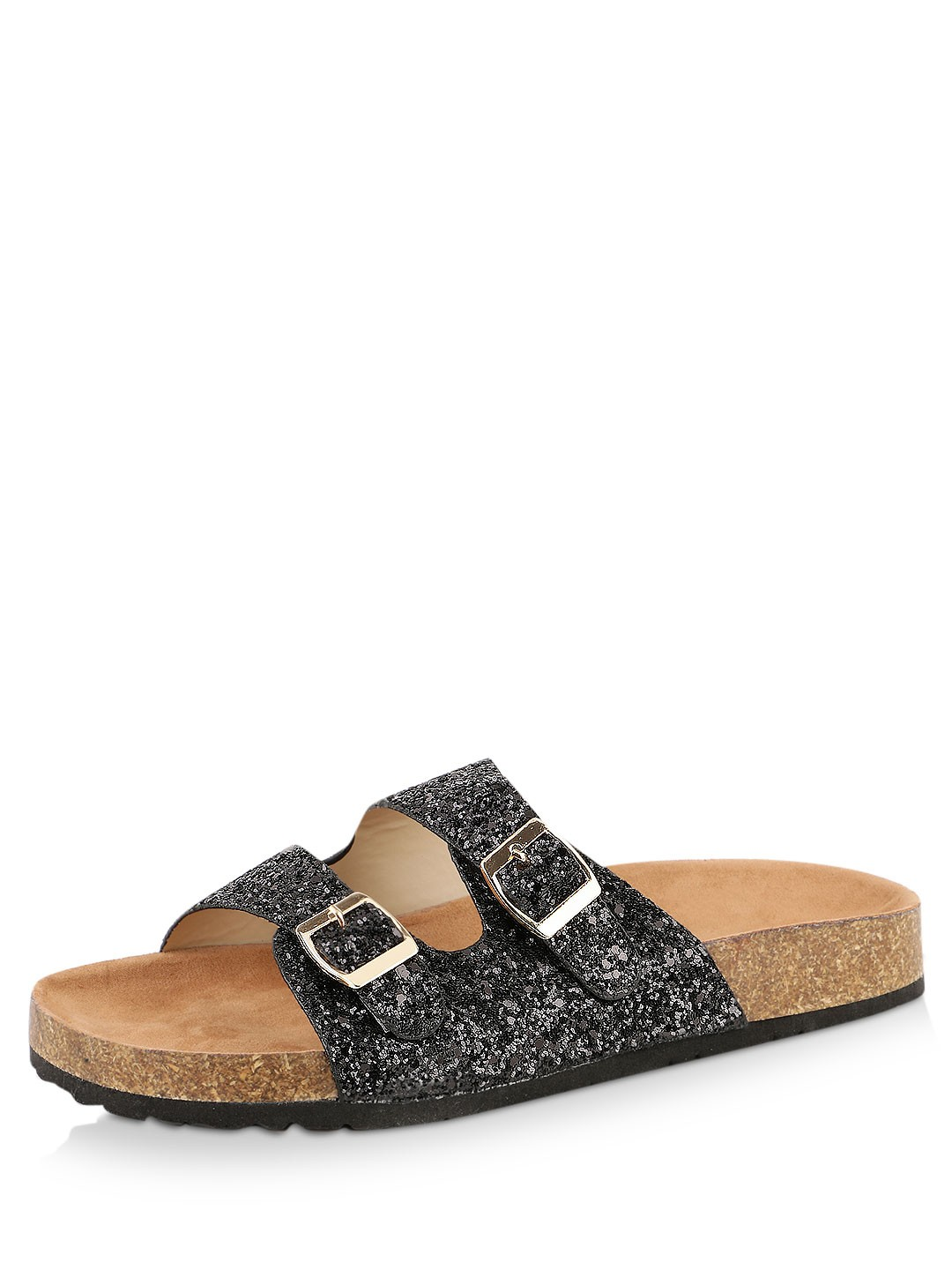 Buy My Foot Couture Black Glitter Slides With Cork Sole
