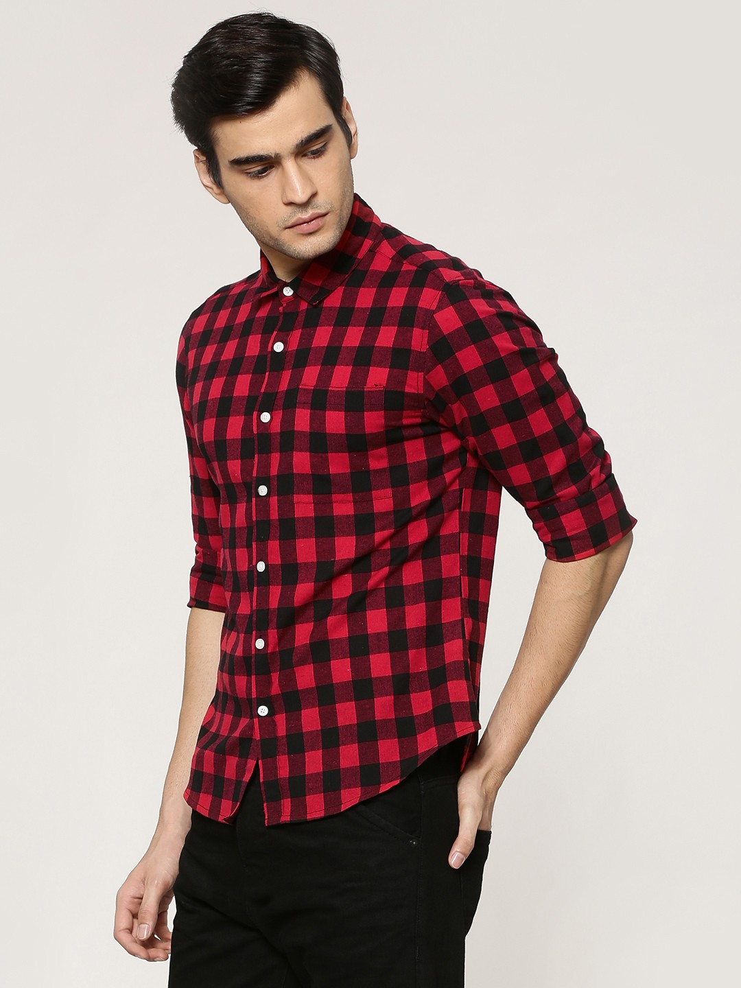 Buy KOOVS Red Buffalo Check Shirt for Men Online in India