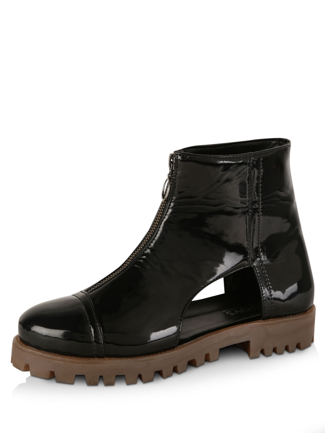 KOOVS Black Cleated Sole Ankle Boots 1