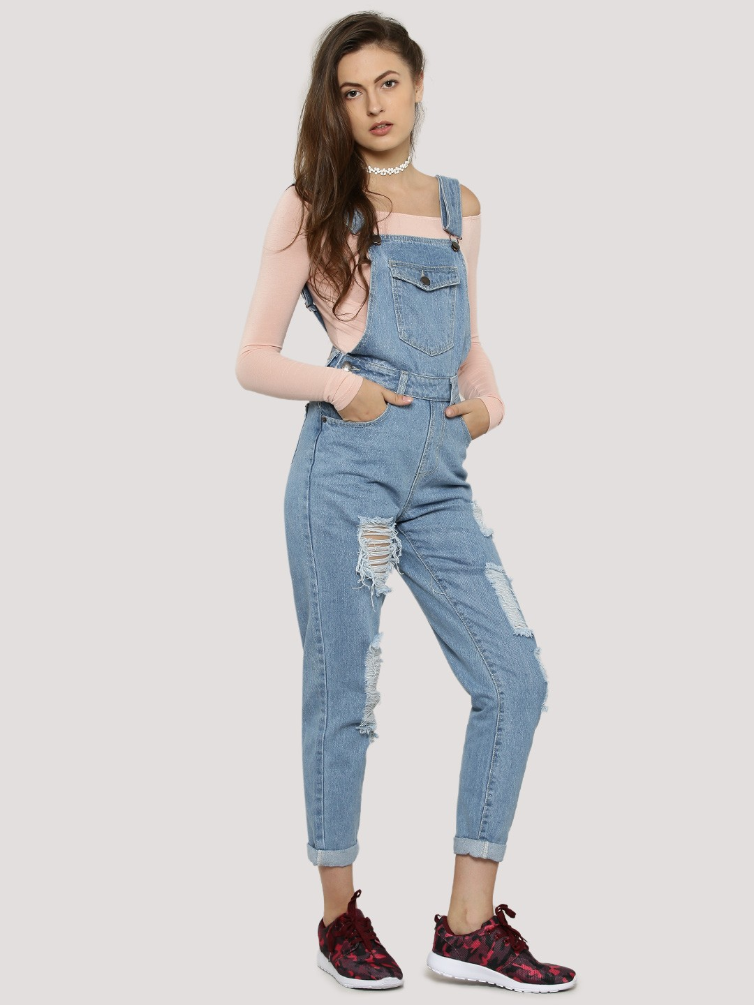 Buy Distressed Denim Dungarees For Women Women S Blue