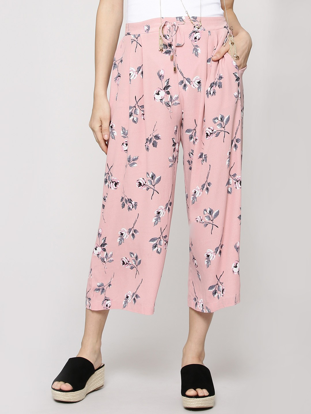 New Look PINK PATTERN Indie Floral Culottes 1